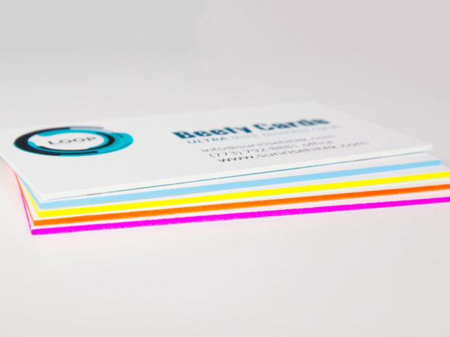 Super thick business cards with colored edges